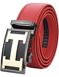 QISHI YUHUA PD hombre Moda Negocio Casual Cinturones de Cuero Trinquete Cinturones