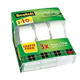 3M Scotch Magic Tape Nastro Adesivo Trasparente Invisibile con Dispenser, 3 Pezzi, 19 mm x 7.5 m