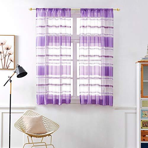 Streifen drucken Tüll Türfenstervorhang drapieren Rod-Pocket Gardine Single Voile dekorative Vorhang 1 Panel