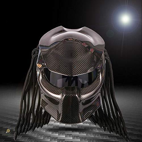 Motorradhelm Carbon Fiber Predator Helm, Anti-Nebel-Lens, DOT Safety Certification, Rollenspiel, Party, Dance und Predator Movie Lovers,Black,L(59~60) cm Dance Dot