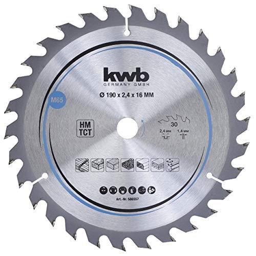 kwb 586557 Span-Platten Kreissäge-Blatt, Holz-/Hartholz-Sägeblatt, 190 x 16 mm, saubere Schnitte, mittlere Zahl, 30 Zähne Z-30