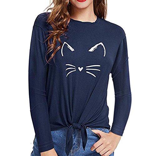 Xiantime Damen Bluse Frauen O Hals Langarm Katze Print Verband Bluse Tops Shirts S-XL
