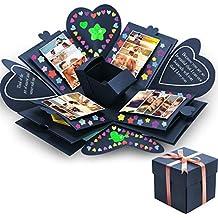 esplosione box creative Gift Box memoria DIY scrapbook album fotografico per Natale compleanno anniversario San Valentino matrimonio blu navy