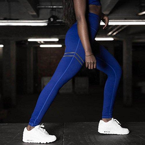 Jintime - Legging de sport - Femme Vert gris S Bleu