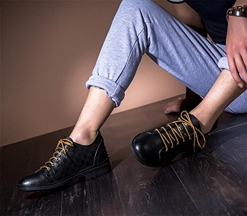 SONGYUNYAN Vintage Brock Herren Leder abbürsten Bootsschuhe Black