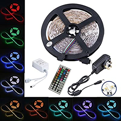 led strip,topmax,5050 led strip lights,RGB led strips lighting full kit +44 key IR remote+12V UK charger (built-in IC and fuse)Power Supply - inexpensive UK light store.