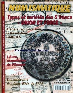 NUMISMATIQUE ET CHANGE [No 342] du 01/10/2003 - TYPES ET VARIETES DES 5 FRANCS - UNION ET FORCE - ATELIERS REGULIERS SOUS LA REVOLUTION - LIMOGES - L'EURO.