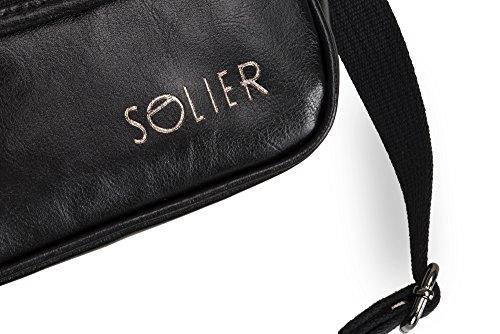 Solier Echte Leder Herren Schulter Tablet iPad Tasche Premium SL07 Schwarz