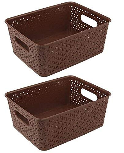 Xllent® Multipurpose Baskets for Storage Set of 2 Pieces,Brown,Medium,B20Cm,L26Cm,H11cm