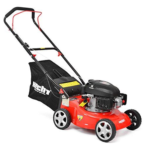 HECHT Benzin-Rasenmäher 40 Benzin-Mäher (3,5 PS Motorleistung, 40,6 cm Schnittbreite, 3-fache Schnitthöhenverstellung 25-70 mm, 40 L Fangsack)