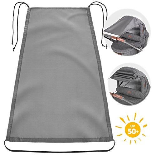 Zamboo Universal Sonnensegel für Kinderwagen Babywanne | flexibler Baby Sonnenschutz mit UV Schutz 50+ und Rollo-Funktion - Grau