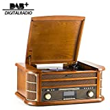 SHUMAN 8 IN 1 Holzmusik System mit Plattenspieler,CD-MP3-Player ,Kabellos ,USB-Anschluss ,DAB , FM-Radio , Kassettenspieler ,Aufnahme,Cinch-Ausgang ,Mit Fernbedienung (MC250DBT)