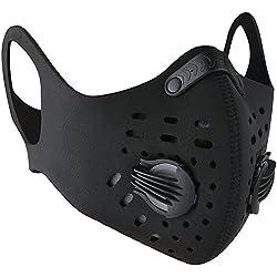 BASE CAMP Masque Anti-poussière avec Earloop Réglable Bande Hook & Loop et Filtre à Charbon Actif pour Sport Formation Maison Nettoyage Jardinage (Noir)
