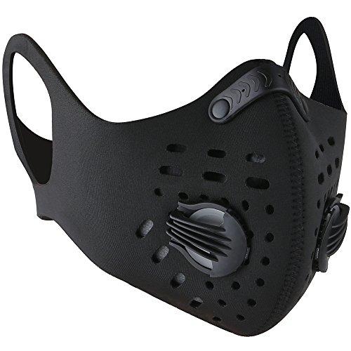 Base Camp Staubdicht Maske Ohrbügel Klettverschluss Anti-Verschmutzungsmaske Aktivierte Kohlenstoff Filtration Abgas Anti Pollen Allergie für Motorrad Biken alle Outdoor-Aktivitäten (Black)
