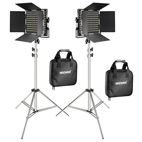 Neewer 2er Pack 660 LED Videoleuchte mit 78,7 Zoll Edelstahl Lichtstativ Set: Dimmbare Bi-farbige LED-Panel Videolicht mit U-Halterung, Barndoor(3200-5600K,CRI 96+) -