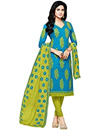Mrinalika Fashion Women'S Cotton Cocktail Salwar Suit Set (Salwar Suits For Women'S - 2Mts96005_Blue_Free Size)