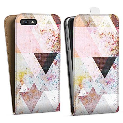 Apple iPhone 5s Hülle Case Handyhülle Dreiecke Grafisch Abstrakt Downflip Tasche weiß