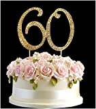 Strass Kristall Birthday Cake Topper Nr. Pick 60. Diamantenform Dekoration–60Gold