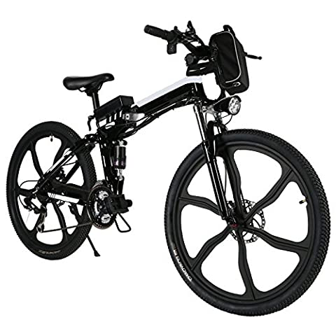 28 Inch 21 Speed Men Electric Foldable Dual-Suspension Mountain Bike with Lithium-Ion Battery (36V 8Ah) UK Stock (black and white)