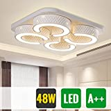 HG® 48W LED Deckenlampe Wohnzimmer Badlampe eckig Weiß Energiespar Energiesparende Möbeleinbauleuchte Lampe
