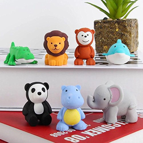 6 PCS Japanese Animal Erasers for kids Assorted Set Adorable Cute Animals Toys Educational Gift Party Favors for Boys Girls Childrens