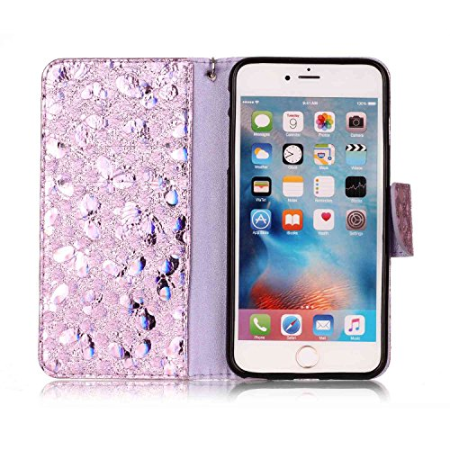 Custodia iPhone 6 Plus, iPhone 6S Plus Flip Case Leather, SainCat Custodia in Pelle Cover per iPhone 6/6S Plus, Anti-Scratch Book Style Protettiva Caso Elegante Creativa Dipinto Pattern Design PU Leat Luce viola