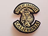 # 123 AUFNÄHER Sons of Anarchy California GRÖSSE ca. 10,5x9,5cm! Komplett Bestickt! Patch APLICATION ECCUSON Hot Rod!