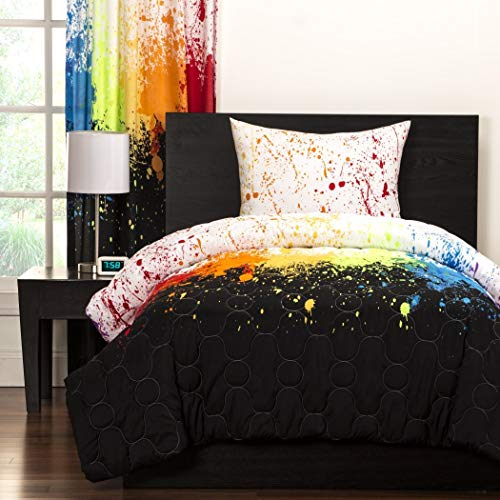 Crayola Crayon Paint Splash 2-teilig Tröster Set Twin Kids & Teens, abstraktes Graphic Paint Splat Muster Wende Bettwäsche, grün orange lila rot schwarz weiß, Rainbow Bunt und Spaß. (Schwarzes Bett Tröster)