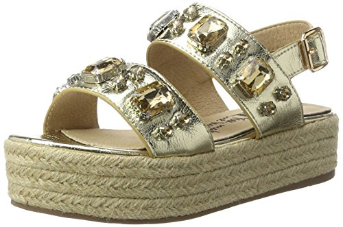 XTI Damen Gold Metallic Ladies Sandals Plateausandalen Gold (Gold)
