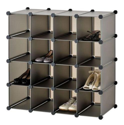 Generic NV _ 1001003213 _ Yc-uk2 Standock Organiseur de rangement avec verrouillage de paires NEUF Noir à chaussures écran Nizer 16 paires Cube à chaussures minimum R support NEUF BLA