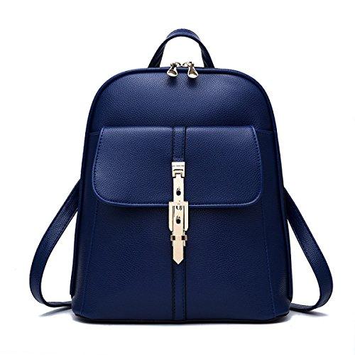 QPALZM Autunno E L'inverno Di Elaborazione Di Modo Per Il Tempo Libero Spalle Zipper Solid Zaino Blue
