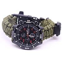 HCFKJ Outdoor Survival Watch Armband Paracord Kompass Flint Fire Starter Whistle (E)