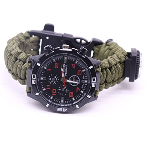HCFKJ Outdoor Survival Watch Armband Paracord Kompass Flint Fire Starter Whistle (E)