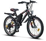 """Licorne Bike Guide, 26"""", 24"""", 20"""", Mountain Bike, Cambio Shimano a 21 Marce, Forcella Ammortizzata, Bicicletta per Bambini, Ragazzi e Ragazze, da Donna, Borsa per Telaio, Nero/Rosso/Grigio, 20"""
