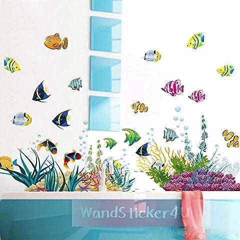 'sticker4u?Sticker mural mural Monde sous-marin mer eau de l'aquarium Poissons multicolores mer salle de bain décoration de fenêtre autocollant sticker mural