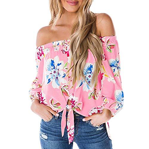 Chiffon V-neck Tunic Top (Hucode Kaltes Schulterhemd der Frauen Blumendruck-Kragen-Front Chiffon-HemdoberteilDamenmode bedrucktes EIN-Schulter-Top mit Knöpfen)