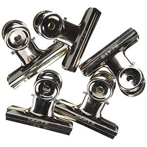 Maul Briefklemmer Metall, Breiter Verschlussclip 50 mm, Klemmweite 20 mm, Hohe Klemmkraft, Silber, 2175096, 10 Stück