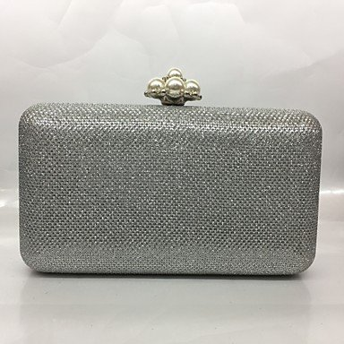 pwne Frauen Abend Tasche Metal All Seasons Formale Veranstaltung/Party Baguette Raupe Push Lock Silber Schwarz Gold Champagne Silver