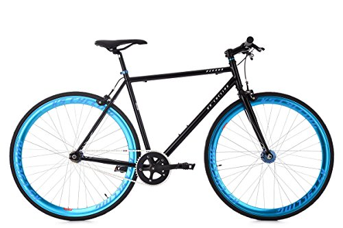 KS Cycling Fixie Pegado RH 56 cm Fahrrad, schwarz/Blau, 28 Zoll