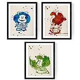 Set de 3 láminas para enmarcar Mafalda estilo acuarela. Posters con imágenes de mafaldas en tres colores, tamaño 30x40 cm. Decoración de hogar. Papel 250 gramos alta calidad. Decora el domitorio infantil, salón, o haz el regalo perfecto.Nacnic