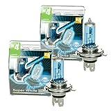 ECD Germany 4er Pack Halogen Lampe H4 12V 55/60W 8500K mit E-Prüfzeichen Xenon Optik Glühbirne Glühlampe Scheinwerferlampe Autolampe