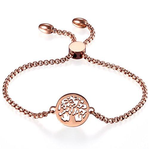 Frauen verstellbar Armband, cupimatch Baum des Lebens Rotgold beschichtetem Edelstahl Charm Armband Link Knöchel Kette 22,4cm