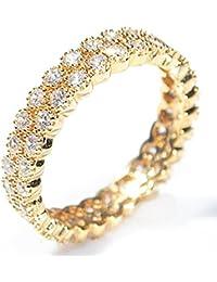 Women's Genuine 18k Gold Filled Micro Pave Fringed Ring. UK Guarantee :3 µ / 10 years. Glamorous Eternity Band Set With Sparkling Simulated Diamonds. Highest Quality Finish.