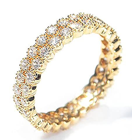 Women's Genuine 18k Gold Filled Micro Pave Fringed Ring. UK Guarantee : 3? / 5-10 years. Glamourous Eternity Band Set With Sparkling Simulated Diamonds. Highest Quality