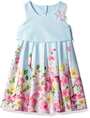 Bonnie Jean Kinder Mädchen Sommer Kleid Popover hellblau Blumen (3)