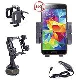 Support Voiture 3 en 1 pour téléphone portable / Smartphone Samsung Galaxy S5 (SM-G900F) - grille d'aération, pare-brise & tableau de bord - Chargeur allume-cigare BONUS