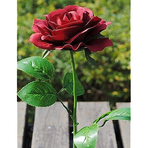 flores artificiales, Seda / Plástico Rosas Flores Artificiales , claret