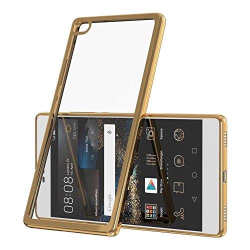 Chrom Cover für Huawei Ascend Y625 Schutz Hülle TPU Case Silikon Tasche Metallic Bumper Gold