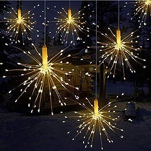 LED Lichterkette, Qtiwe Lichtkette mit Fernbedienung Outdoor Weihnachtslichterkette Batteriebetrieben, explodierendes Feuerwerk, Warmweiß (180 Lichter)