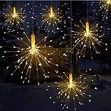 Luci a LED, Catena Luminosa Qtiwe con Telecomando Luci di Natale all'aperto a batteria, Fuochi D'artificio che Esplodono, Bianco Caldo (120 luci)